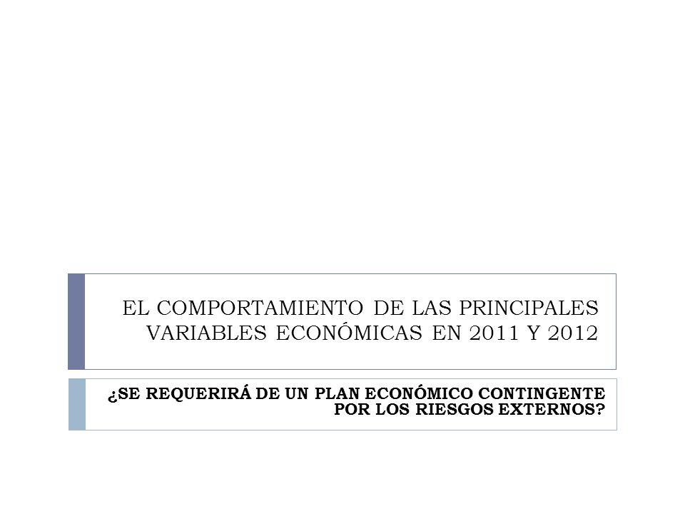 EL COMPORTAMIENTO DE LAS PRINCIPALES VARIABLES ECONÓMICAS EN 2011 Y 2012 ¿SE REQUERIRÁ DE UN PLAN ECONÓMICO CONTINGENTE POR LOS RIESGOS EXTERNOS?