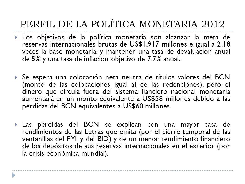 PERFIL DE LA POLÍTICA MONETARIA 2012 Los objetivos de la política monetaria son alcanzar la meta de reservas internacionales brutas de US$1,917 millon