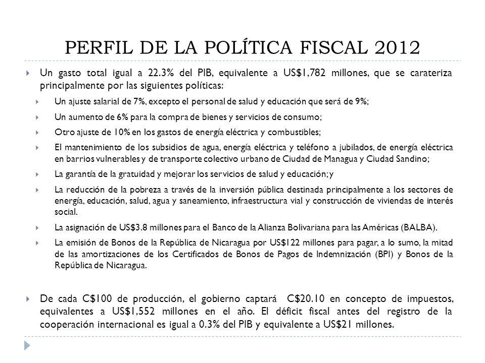 PERFIL DE LA POLÍTICA FISCAL 2012 Un gasto total igual a 22.3% del PIB, equivalente a US$1,782 millones, que se carateriza principalmente por las sigu