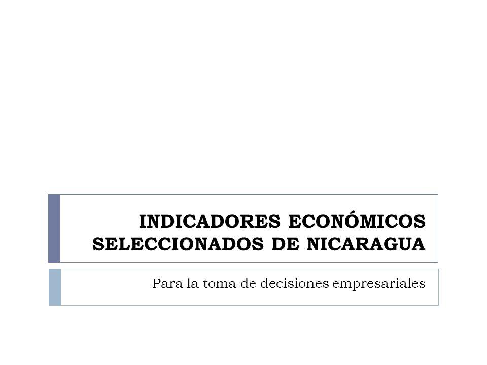 INDICADORES ECONÓMICOS SELECCIONADOS DE NICARAGUA Para la toma de decisiones empresariales
