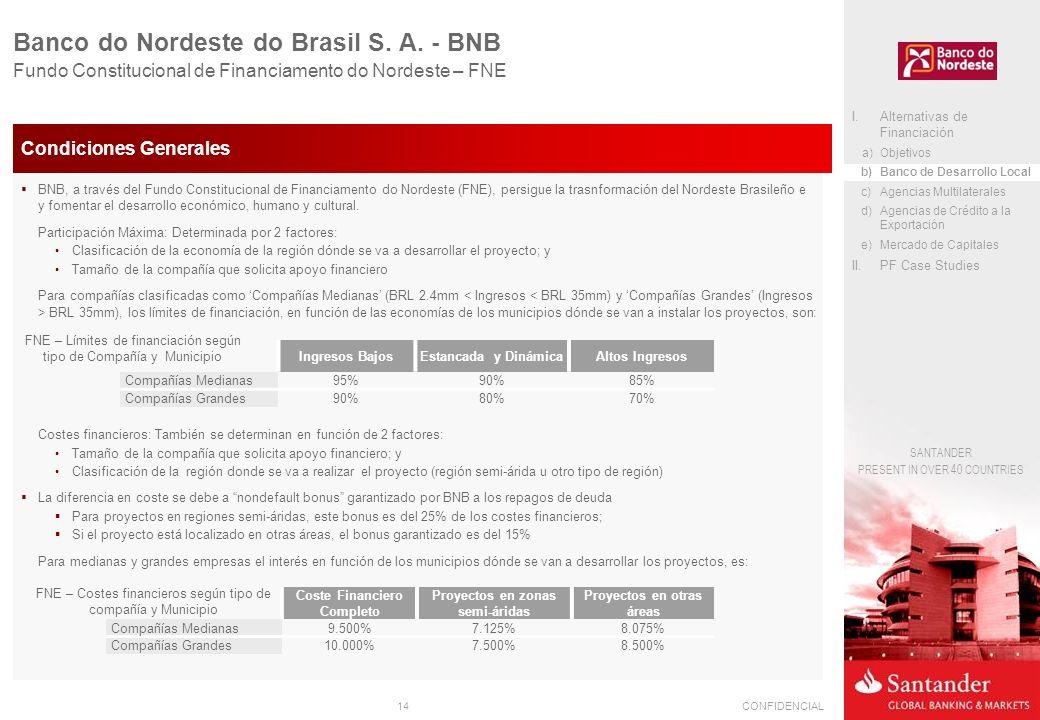 14CONFIDENCIAL SANTANDER PRESENT IN OVER 40 COUNTRIES Banco do Nordeste do Brasil S. A. - BNB Fundo Constitucional de Financiamento do Nordeste – FNE