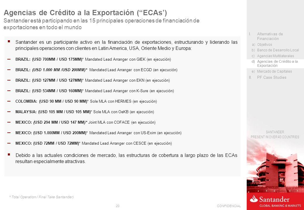 20CONFIDENCIAL SANTANDER PRESENT IN OVER 40 COUNTRIES Santander es un participante activo en la financiación de exportaciones, estructurando y liderando las principales operaciones con clientes en Latin America, USA, Oriente Medio y Europa: – BRAZIL: (USD 700MM / USD 175MM)* Mandated Lead Arranger con GIEK (en ejecución) – BRAZIL: (USD 1.000 MM /USD 200MM)* Mandated Lead Arranger con ECGD (en ejecución) – BRAZIL: (USD 127MM / USD 127MM)* Mandated Lead Arranger con EKN (en ejecución) – BRAZIL: (USD 534MM / USD 160MM)* Mandated Lead Arranger con K-Sure (en ejecución) – COLOMBIA: (USD 90 MM / USD 90 MM)* Sole MLA con HERMES (en ejecución) – MALAYSIA: (USD 105 MM / USD 105 MM)* Sole MLA con OeKB (en ejecución) – MEXICO: (USD 294 MM / USD 147 MM)* Joint MLA con COFACE (en ejecución) – MEXICO: (USD 1.000MM / USD 200MM)* Mandated Lead Arranger con US-Exim (en ejecución) – MEXICO: (USD 72MM / USD 72MM)* Mandated Lead Arranger con CESCE (en ejecución) Debido a las actuales condiciones de mercado, las estructuras de cobertura a largo plazo de las ECAs resultan especialmente atractivas.