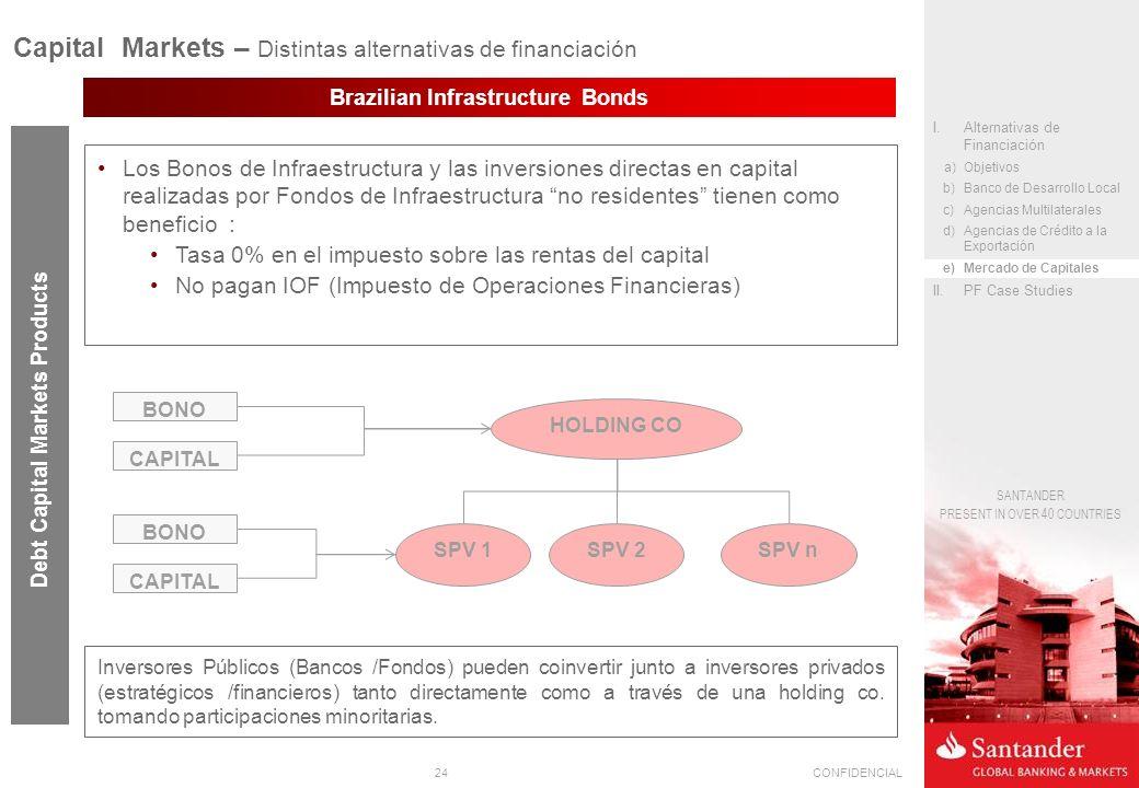 24CONFIDENCIAL SANTANDER PRESENT IN OVER 40 COUNTRIES Brazilian Infrastructure Bonds Los Bonos de Infraestructura y las inversiones directas en capital realizadas por Fondos de Infraestructura no residentes tienen como beneficio : Tasa 0% en el impuesto sobre las rentas del capital No pagan IOF (Impuesto de Operaciones Financieras) Debt Capital Markets Products Capital Markets – Distintas alternativas de financiación I.Alternativas de Financiación a)Objetivos b)Banco de Desarrollo Local c)Agencias Multilaterales d)Agencias de Crédito a la Exportación e)Mercado de Capitales II.PF Case Studies BONO CAPITAL BONO CAPITAL HOLDING CO SPV 1SPV 2SPV n Inversores Públicos (Bancos /Fondos) pueden coinvertir junto a inversores privados (estratégicos /financieros) tanto directamente como a través de una holding co.