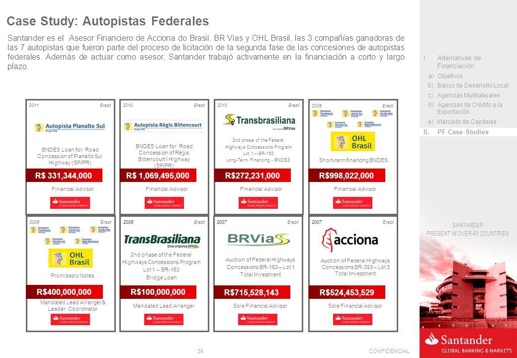 36CONFIDENCIAL SANTANDER PRESENT IN OVER 40 COUNTRIES Santander es el Asesor Financiero de Acciona do Brasil, BR Vias y OHL Brasil, las 3 compañías ga