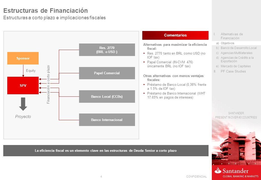 4CONFIDENCIAL SANTANDER PRESENT IN OVER 40 COUNTRIES Estructuras de Financiación Estructuras a corto plazo e implicaciones fiscales SPV Sponsor Papel