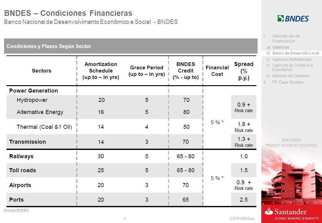 8CONFIDENCIAL SANTANDER PRESENT IN OVER 40 COUNTRIES Banco Nacional de Desenvolvimento Econômico e Social - BNDES BNDES – Condiciones Financieras Condiciones y Plazos Según Sector Source: BNDES I.Alternativas de Financiación a)Objetivos b)Banco de Desarrollo Local c)Agencias Multilaterales d)Agencias de Crédito a la Exportación e)Mercado de Capitales II.PF Case Studies