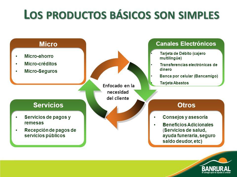 Servicios Servicios de pagos y remesas Recepción de pagos de servicios públicos Micro Micro-ahorro Micro-créditos Micro-Seguros Otros Consejos y aseso