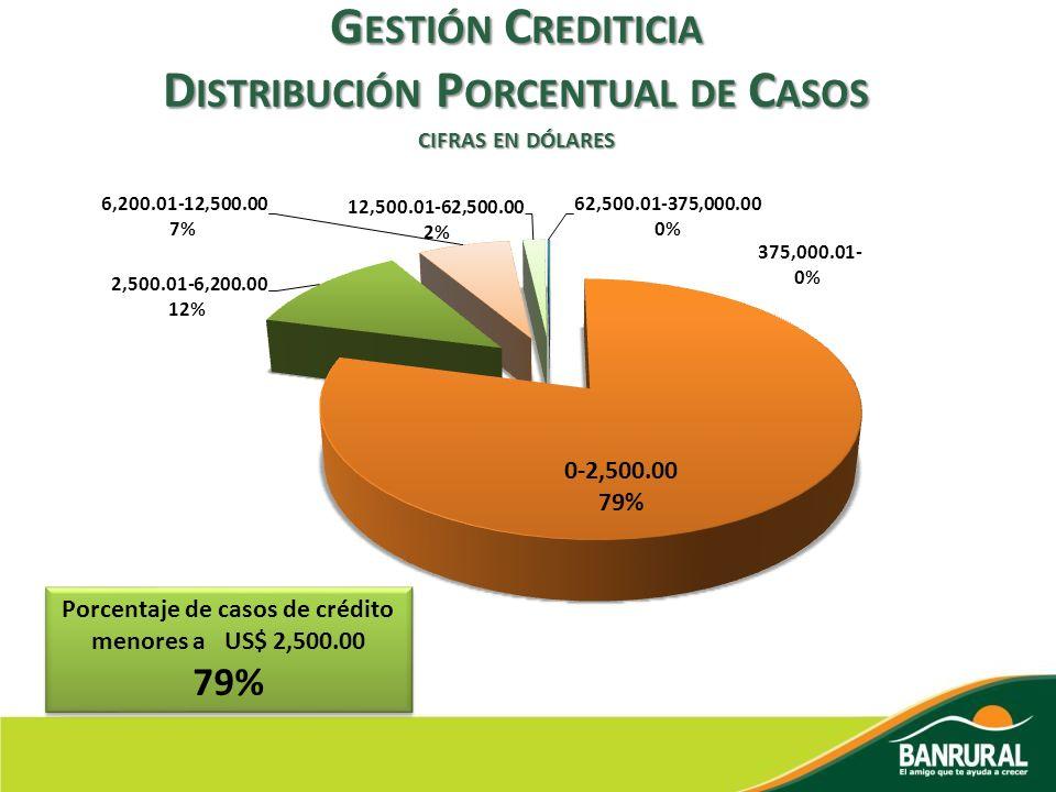 G ESTIÓN C REDITICIA D ISTRIBUCIÓN P ORCENTUAL DE C ASOS CIFRAS EN DÓLARES Porcentaje de casos de crédito menores a US$ 2,500.00 79% Porcentaje de cas