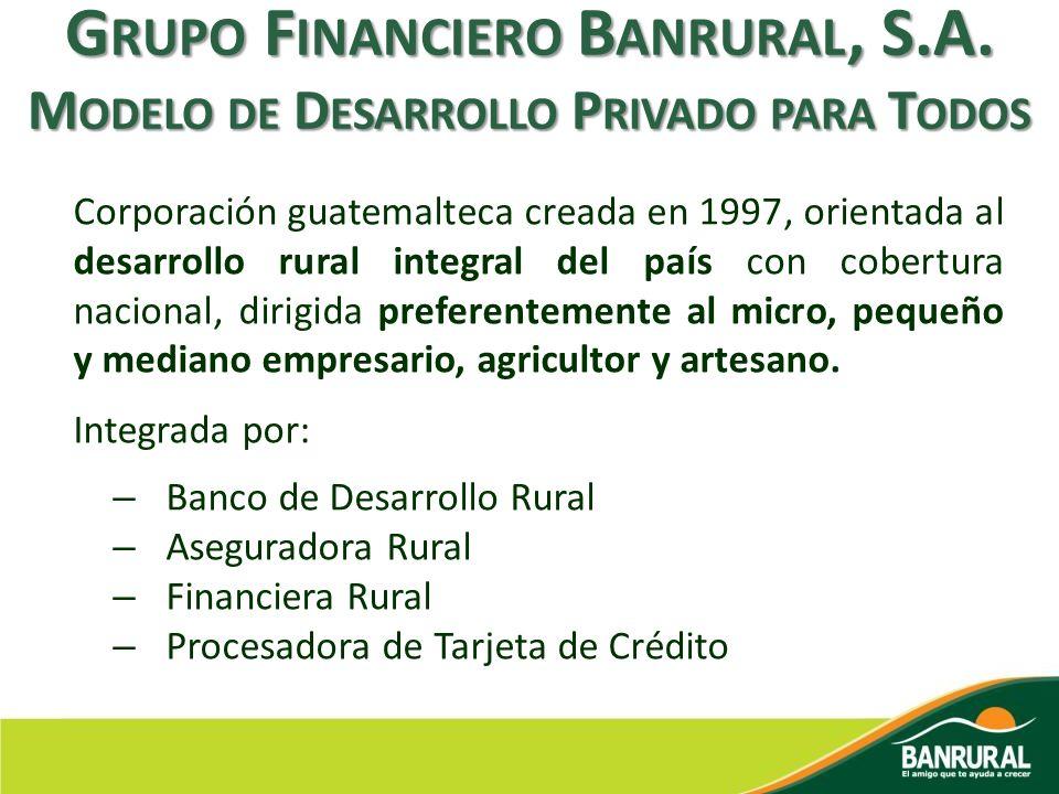 Corporación guatemalteca creada en 1997, orientada al desarrollo rural integral del país con cobertura nacional, dirigida preferentemente al micro, pe