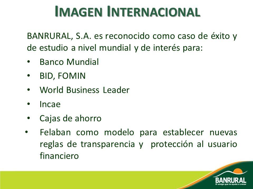 BANRURAL, S.A. es reconocido como caso de éxito y de estudio a nivel mundial y de interés para: Banco Mundial BID, FOMIN World Business Leader Incae C