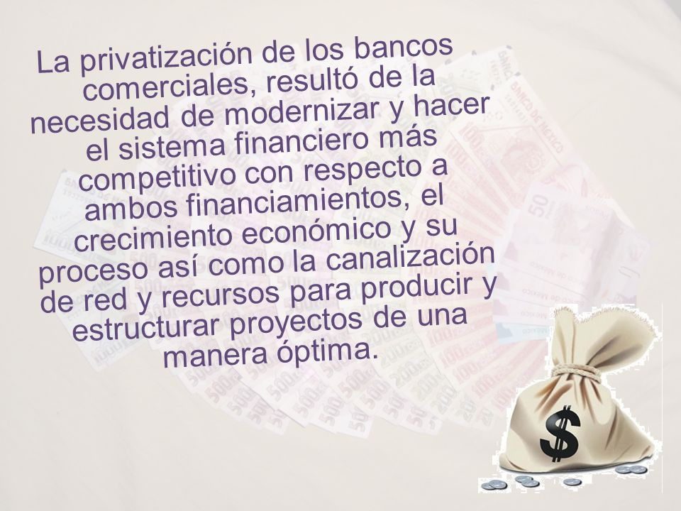 La privatización de los bancos comerciales, resultó de la necesidad de modernizar y hacer el sistema financiero más competitivo con respecto a ambos financiamientos, el crecimiento económico y su proceso así como la canalización de red y recursos para producir y estructurar proyectos de una manera óptima.