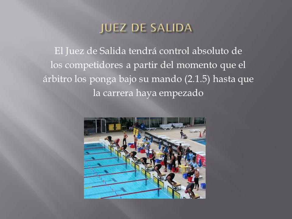 El Juez de Salida tendrá control absoluto de los competidores a partir del momento que el árbitro los ponga bajo su mando (2.1.5) hasta que la carrera