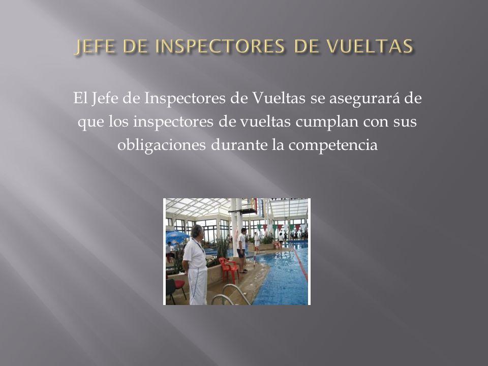 El Jefe de Inspectores de Vueltas se asegurará de que los inspectores de vueltas cumplan con sus obligaciones durante la competencia