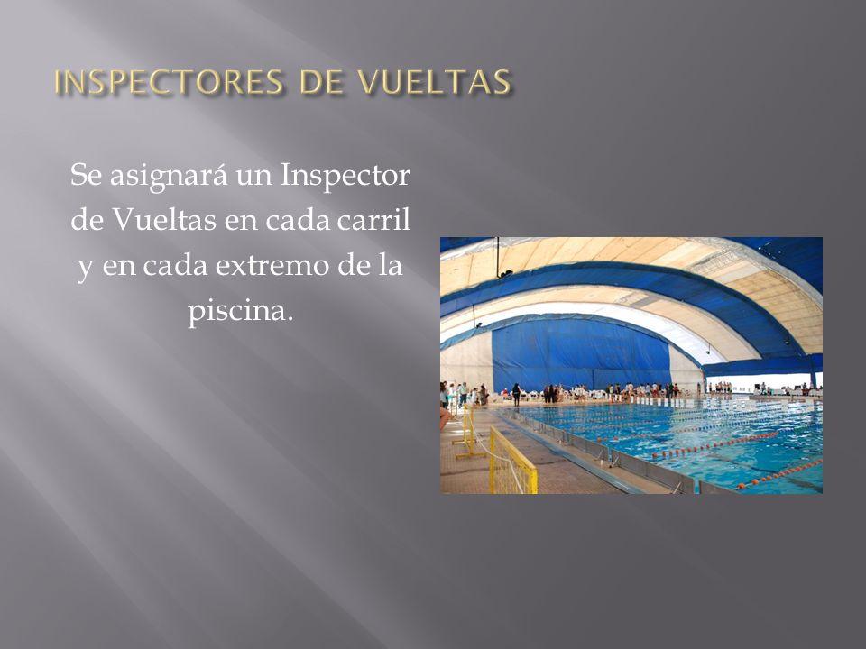Se asignará un Inspector de Vueltas en cada carril y en cada extremo de la piscina.