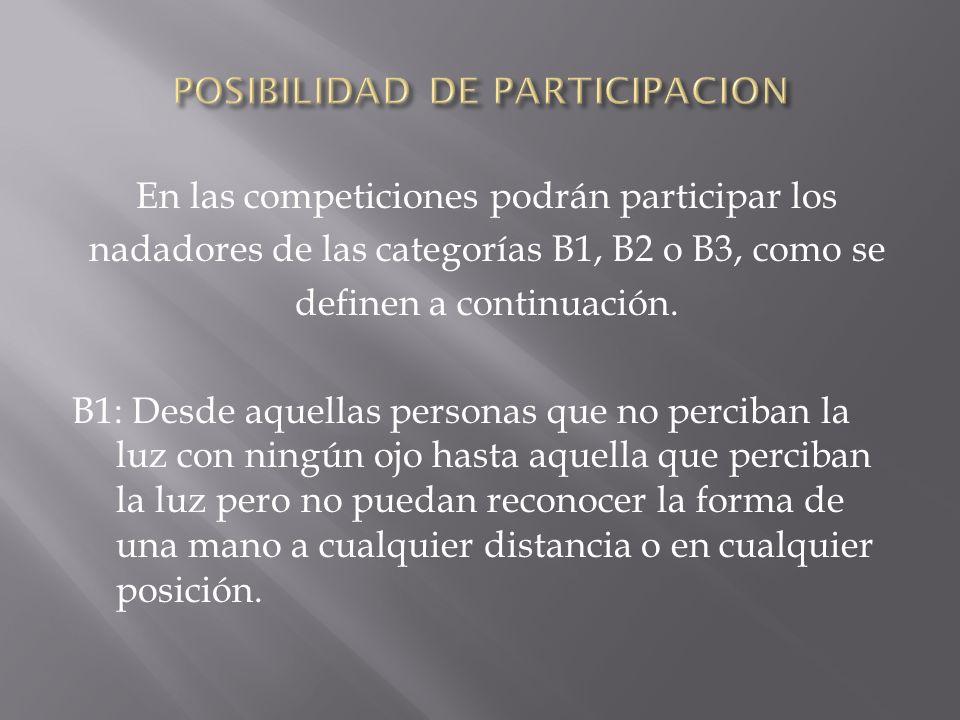 En las competiciones podrán participar los nadadores de las categorías B1, B2 o B3, como se definen a continuación. B1: Desde aquellas personas que no