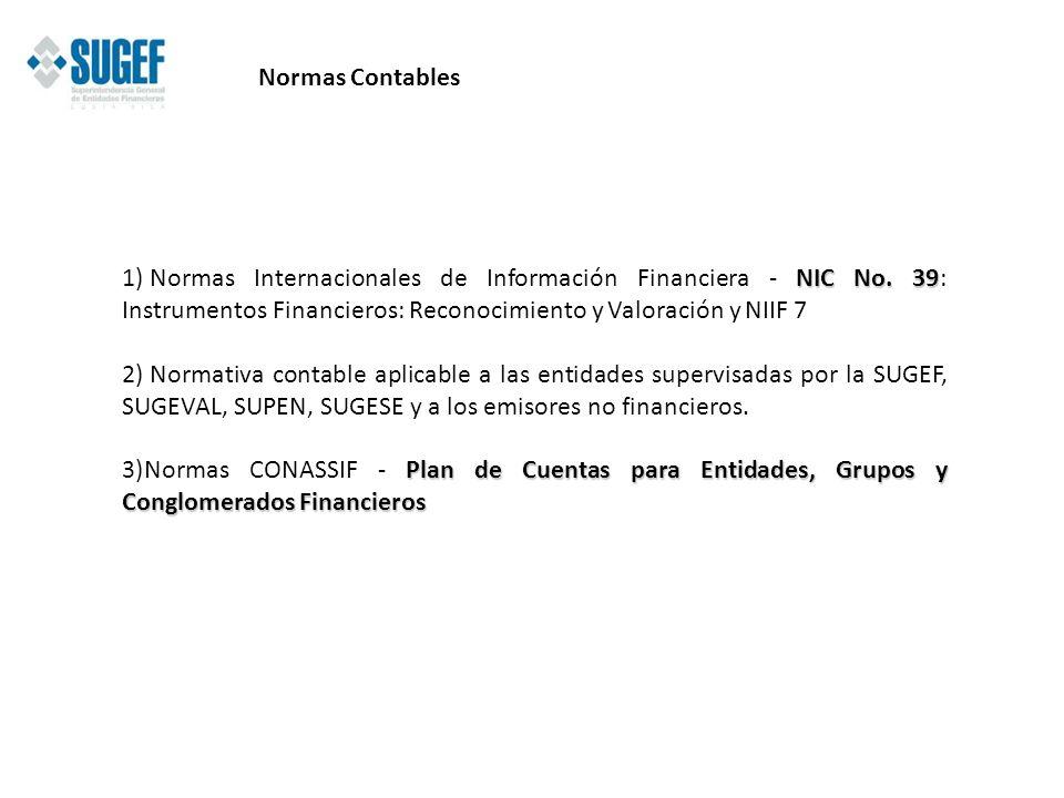 NIC No. 39 1) Normas Internacionales de Información Financiera - NIC No. 39: Instrumentos Financieros: Reconocimiento y Valoración y NIIF 7 2) Normati