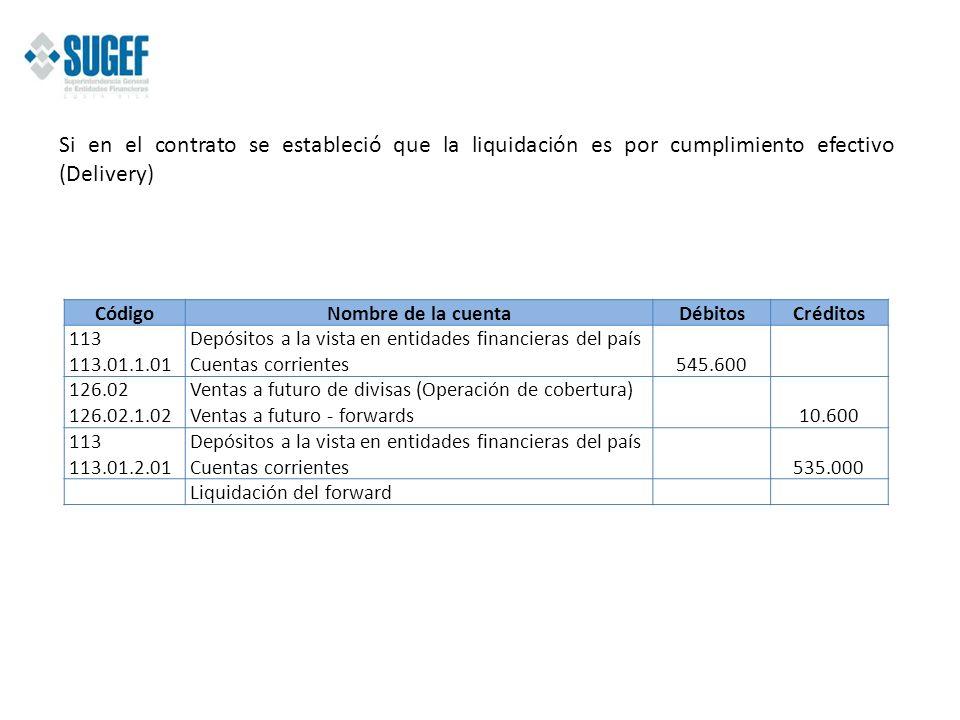 Si en el contrato se estableció que la liquidación es por cumplimiento efectivo (Delivery) CódigoNombre de la cuentaDébitosCréditos 113 113.01.1.01 De