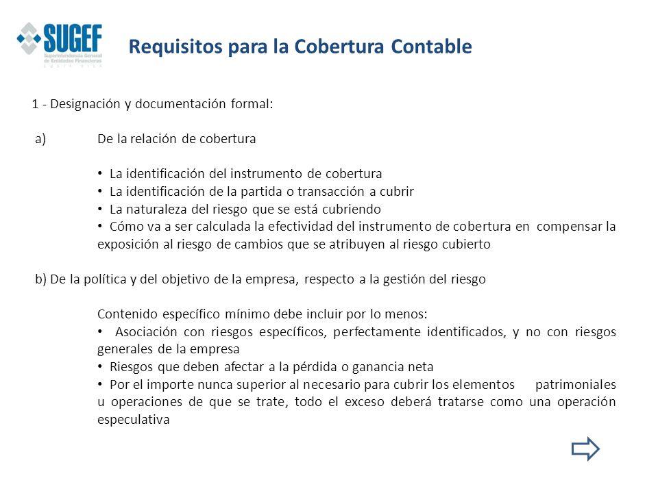 1 - Designación y documentación formal: a)De la relación de cobertura La identificación del instrumento de cobertura La identificación de la partida o