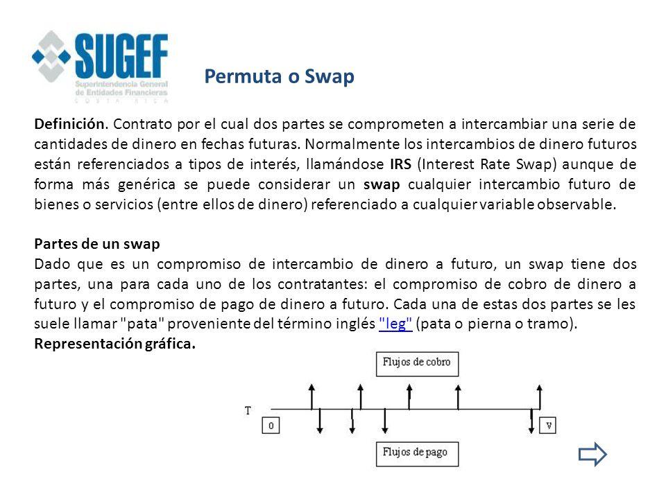Permuta o Swap Definición. Contrato por el cual dos partes se comprometen a intercambiar una serie de cantidades de dinero en fechas futuras. Normalme