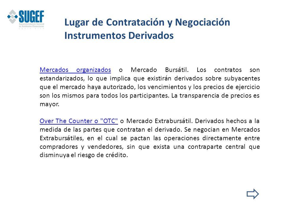 Lugar de Contratación y Negociación Instrumentos Derivados Mercados organizadosMercados organizados o Mercado Bursátil. Los contratos son estandarizad