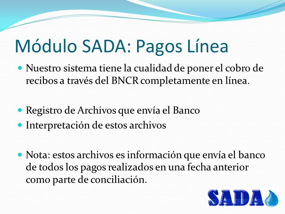 Módulo SADA: Pagos Línea Nuestro sistema tiene la cualidad de poner el cobro de recibos a través del BNCR completamente en línea. Registro de Archivos