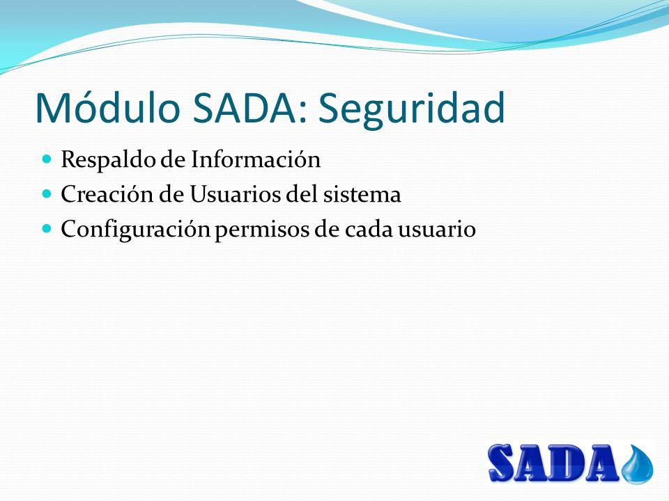 Módulo SADA: Seguridad Respaldo de Información Creación de Usuarios del sistema Configuración permisos de cada usuario