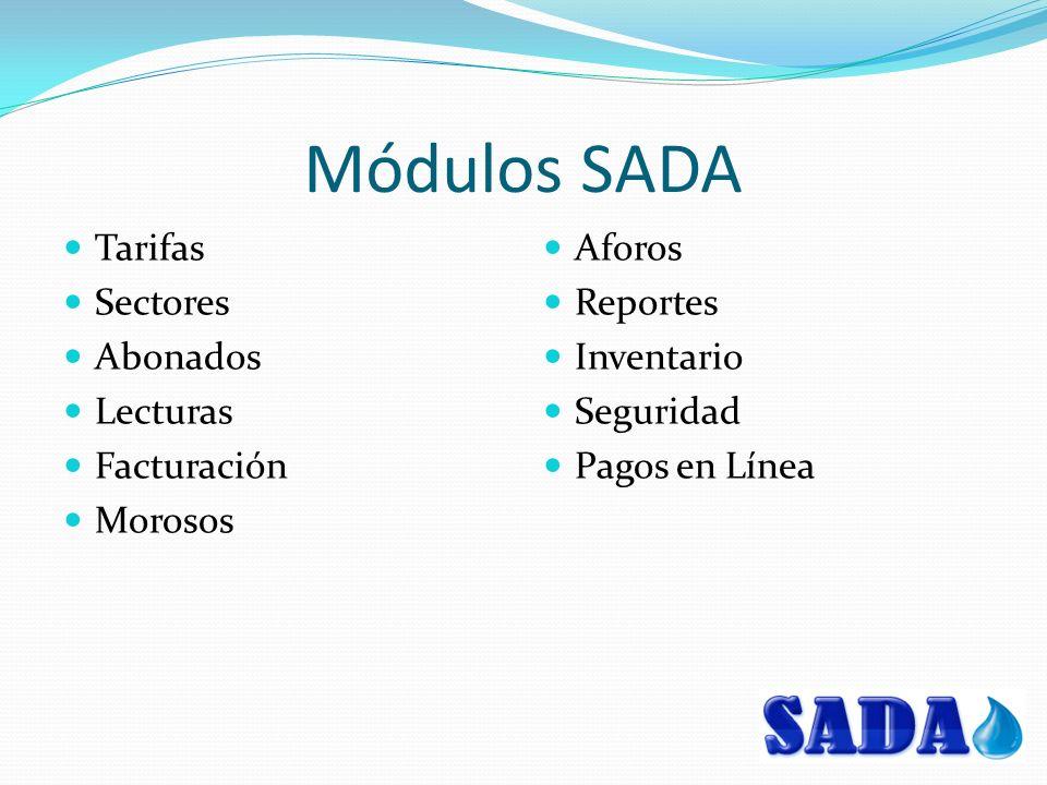 Módulos SADA Tarifas Sectores Abonados Lecturas Facturación Morosos Aforos Reportes Inventario Seguridad Pagos en Línea