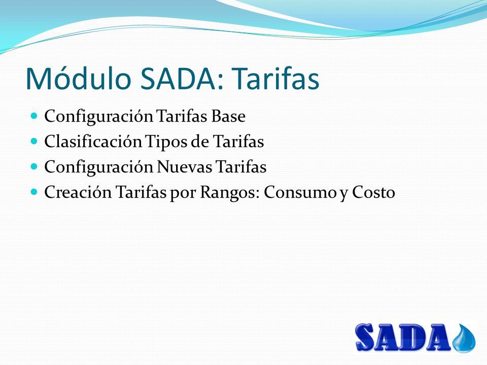 Módulo SADA: Tarifas Configuración Tarifas Base Clasificación Tipos de Tarifas Configuración Nuevas Tarifas Creación Tarifas por Rangos: Consumo y Costo
