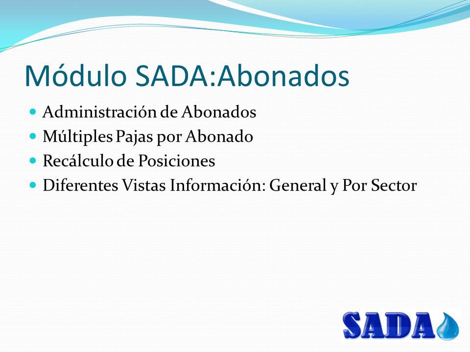 Módulo SADA:Abonados Administración de Abonados Múltiples Pajas por Abonado Recálculo de Posiciones Diferentes Vistas Información: General y Por Sector