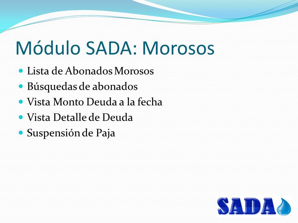 Módulo SADA: Morosos Lista de Abonados Morosos Búsquedas de abonados Vista Monto Deuda a la fecha Vista Detalle de Deuda Suspensión de Paja