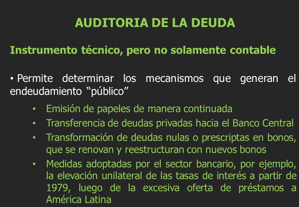 AUDITORIA DE LA DEUDA Instrumento técnico, pero no solamente contable Permite determinar los mecanismos que generan el endeudamiento público Emisión de papeles de manera continuada Transferencia de deudas privadas hacia el Banco Central Transformación de deudas nulas o prescriptas en bonos, que se renovan y reestructuran con nuevos bonos Medidas adoptadas por el sector bancario, por ejemplo, la elevación unilateral de las tasas de interés a partir de 1979, luego de la excesiva oferta de préstamos a América Latina