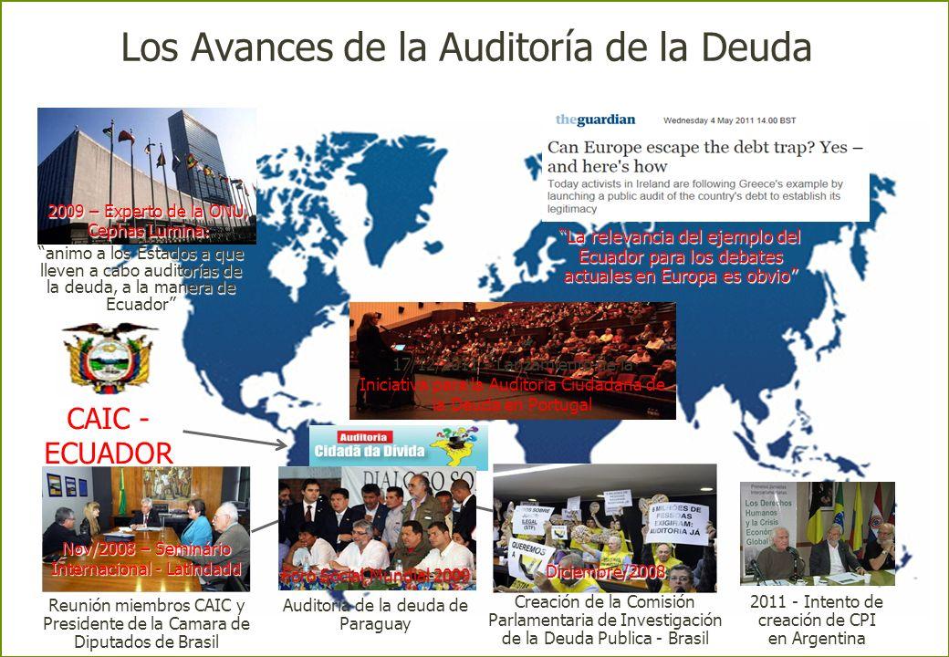 Los Avances de la Auditoría de la Deuda CAIC - ECUADOR 2007-2008 Nov/2008 – Seminário Internacional - Latindadd Reunión miembros CAIC y Presidente de la Camara de Diputados de Brasil 2011 - Intento de creación de CPI en Argentina 2009 – Experto de la ONU, Cephas Lumina : animo a los Estados a que lleven a cabo auditorías de la deuda, a la manera de Ecuadoranimo a los Estados a que lleven a cabo auditorías de la deuda, a la manera de Ecuador Diciembre/2008 Creación de la Comisión Parlamentaria de Investigación de la Deuda Publica - Brasil 17/12/2011 - Lanzamiento de la Iniciativa para la Auditoria Ciudadana de la Deuda en Portugal La relevancia del ejemplo del Ecuador para los debates actuales en Europa es obvioLa relevancia del ejemplo del Ecuador para los debates actuales en Europa es obvio 2001 Foro Social Mundial 2009 Auditoria de la deuda de Paraguay