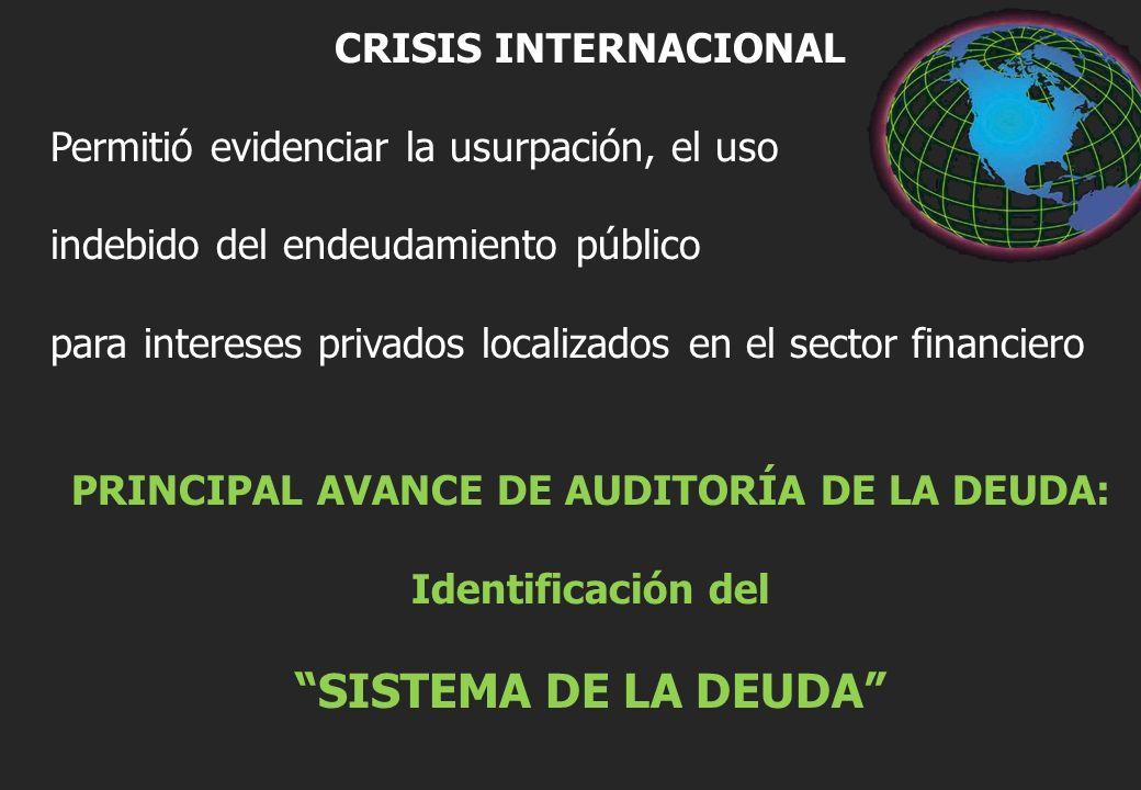 CRISIS INTERNACIONAL Permitió evidenciar la usurpación, el uso indebido del endeudamiento público para intereses privados localizados en el sector financiero PRINCIPAL AVANCE DE AUDITORÍA DE LA DEUDA: Identificación del SISTEMA DE LA DEUDA
