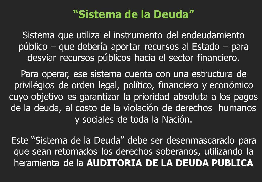 Sistema de la Deuda Sistema que utiliza el instrumento del endeudamiento público – que debería aportar recursos al Estado – para desviar recursos públicos hacia el sector financiero.