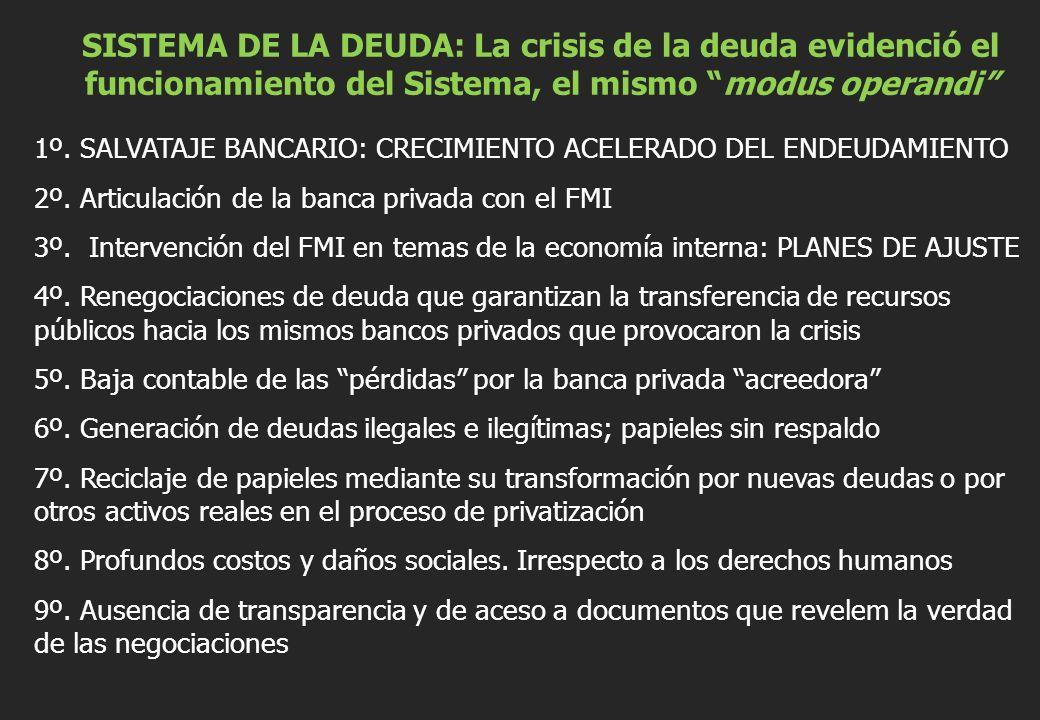SISTEMA DE LA DEUDA: La crisis de la deuda evidenció el funcionamiento del Sistema, el mismo modus operandi 1º.