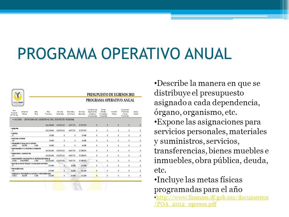 PROGRAMA OPERATIVO ANUAL Describe la manera en que se distribuye el presupuesto asignado a cada dependencia, órgano, organismo, etc.