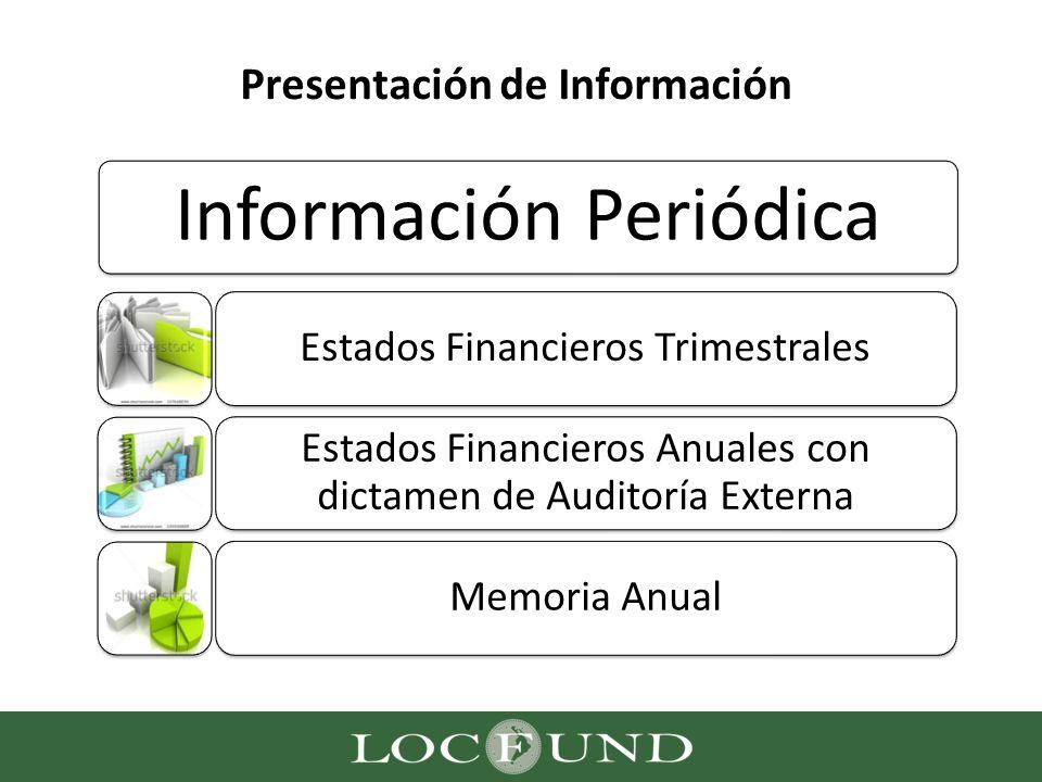 Presentación de Información Información Periódica Estados Financieros Trimestrales Estados Financieros Anuales con dictamen de Auditoría Externa Memor