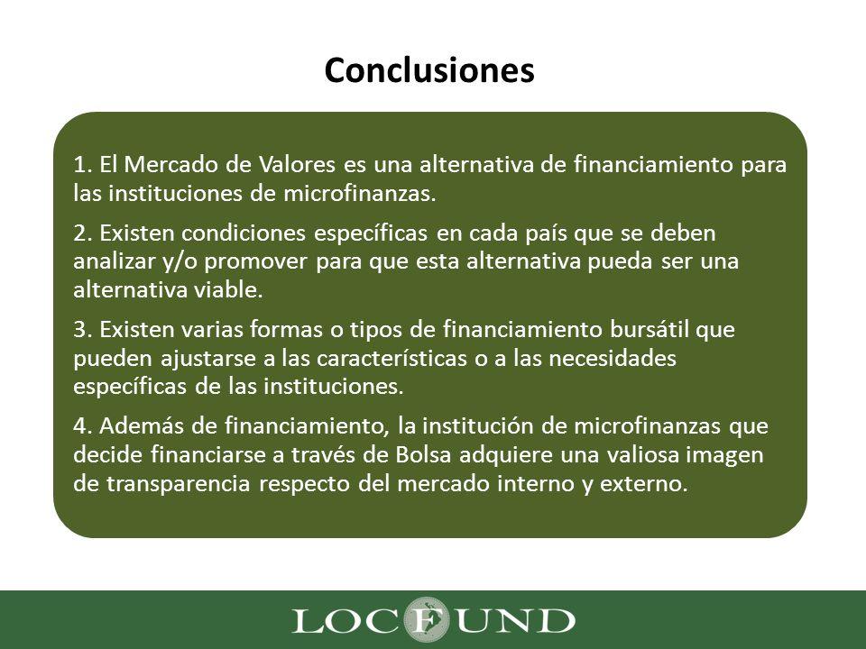 Conclusiones 1. El Mercado de Valores es una alternativa de financiamiento para las instituciones de microfinanzas. 2. Existen condiciones específicas