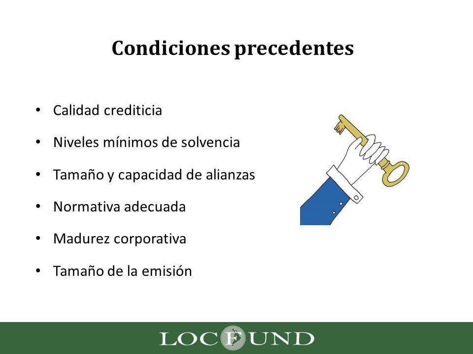 Condiciones precedentes Calidad crediticia Niveles mínimos de solvencia Tamaño y capacidad de alianzas Normativa adecuada Madurez corporativa Tamaño d