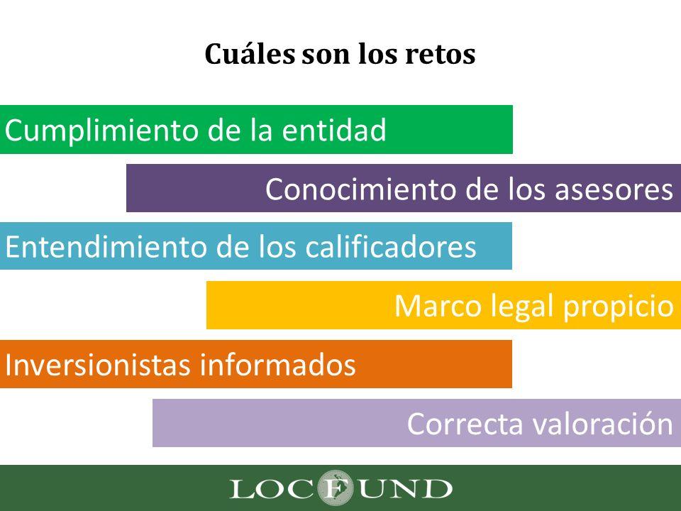 Cuáles son los retos Cumplimiento de la entidad Conocimiento de los asesores Entendimiento de los calificadores Marco legal propicio Inversionistas in