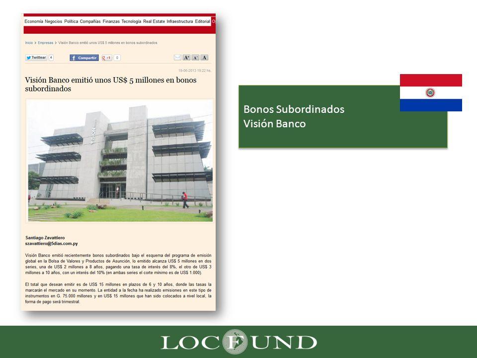 Bonos Subordinados Visión Banco Bonos Subordinados Visión Banco