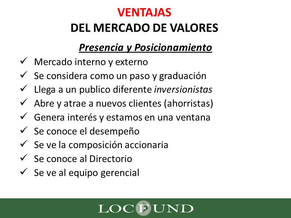 VENTAJAS DEL MERCADO DE VALORES Presencia y Posicionamiento Mercado interno y externo Se considera como un paso y graduación Llega a un publico difere