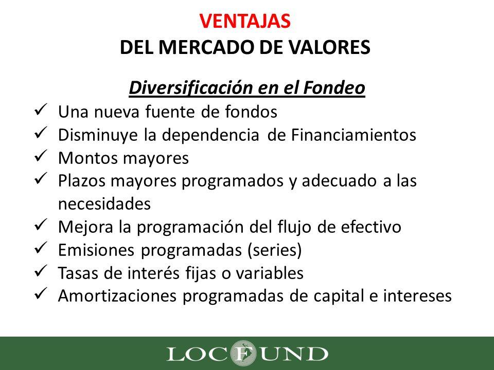 VENTAJAS DEL MERCADO DE VALORES Diversificación en el Fondeo Una nueva fuente de fondos Disminuye la dependencia de Financiamientos Montos mayores Pla