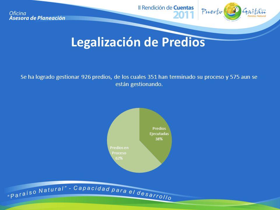 Legalización de Predios Se ha logrado gestionar 926 predios, de los cuales 351 han terminado su proceso y 575 aun se están gestionando.