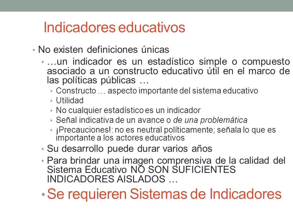 Indicadores educativos No existen definiciones únicas …un indicador es un estadístico simple o compuesto asociado a un constructo educativo útil en el