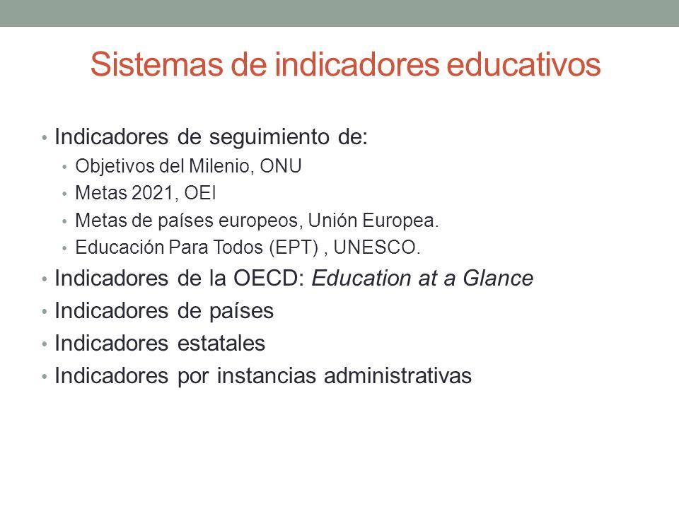 Sistemas de indicadores educativos Indicadores de seguimiento de: Objetivos del Milenio, ONU Metas 2021, OEI Metas de países europeos, Unión Europea.