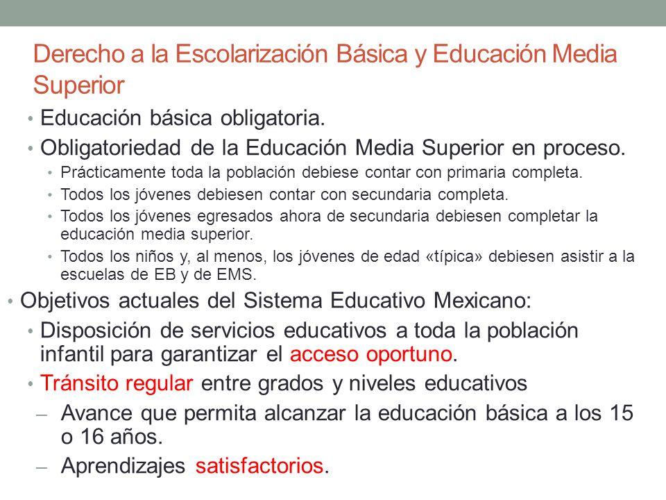 Derecho a la Escolarización Básica y Educación Media Superior Educación básica obligatoria. Obligatoriedad de la Educación Media Superior en proceso.