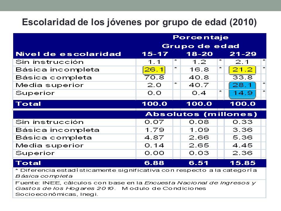 Escolaridad de los jóvenes por grupo de edad (2010)
