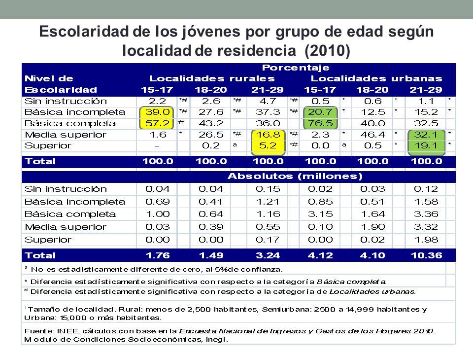 Escolaridad de los jóvenes por grupo de edad según localidad de residencia (2010)