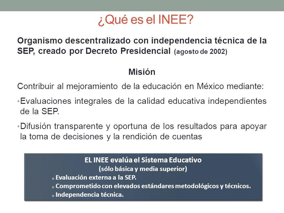 ¿Qué es el INEE? Organismo descentralizado con independencia técnica de la SEP, creado por Decreto Presidencial (agosto de 2002) Misión Contribuir al